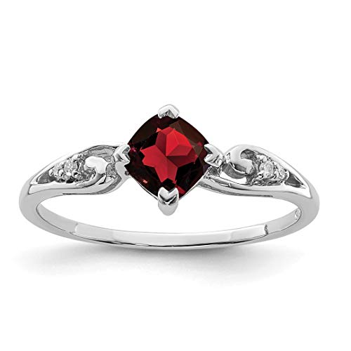 - 925 Sterling Silver Diamond Red Garnet Cushion Band Ring Size 8.00 Gemstone Fine Jewelry Gifts For Women For Her