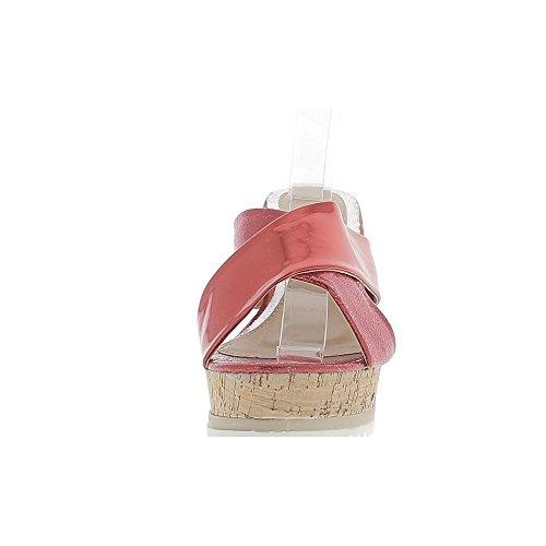 Desplazamiento Rojo Zuecos de tacón 11cm y 3,5 cm metálica placa