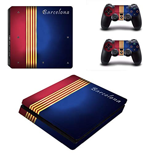 SJYMKYC Barcelona Football PS4 Slim Skin Sticker for Sony Playstation 4 Console and Controllers Decal PS4 Slim Sticker Vinyl