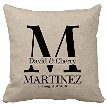 Personalized Gifts for Wedding Custom Burlap Pillow Cover with Name Cotton  Linen Square Throw Pillow Cover Gifts for the Couple c49bcf4cc