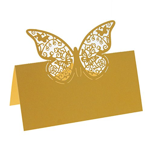 UNIQLED Pack of 60 Laser Cut Butterfly Paper Place Table Numbers Guest Seating Name Cards for Wedding Party Decoration (Gold)