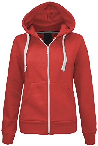 NEW LADIES WOMENS PLAIN HOODIE HOODED ZIP TOP ZIPPER SWEATSHIRT JACKET COAT Coral UK 12 / AUS 14 / US 8