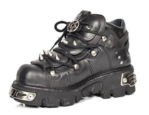 New Rock Leder Knöchel Stiefel Schnürsenkel Metallisch Plattform Schuhe Spitze Entwurf Schwarz