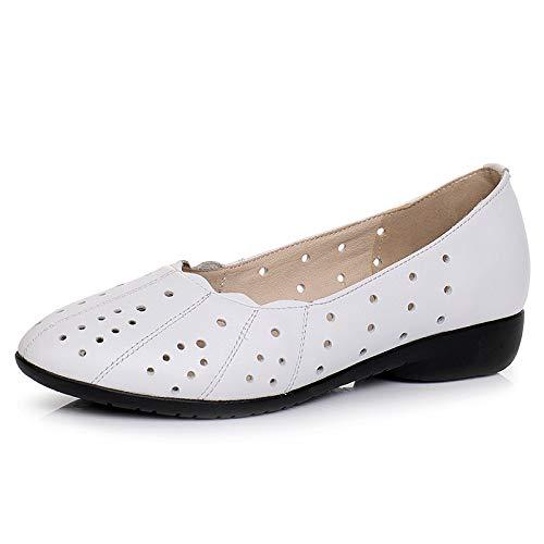 FLYRCX Chaussures en Cuir Simples Dames Creux Peu Profonde Bouche Casual Chaussures Plates Confortables Chaussures Casual Bouche Chaussures de maternité antidérapantes 34 EU white 3da0c9