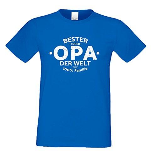 Herren Opa T-Shirt Geschenk Set mit Gratis Urkunde zum Opatag in Größen bis 5XL und Print Aufdruck Bester Opa der Welt Farbe: royal-blau Gr: 4XL