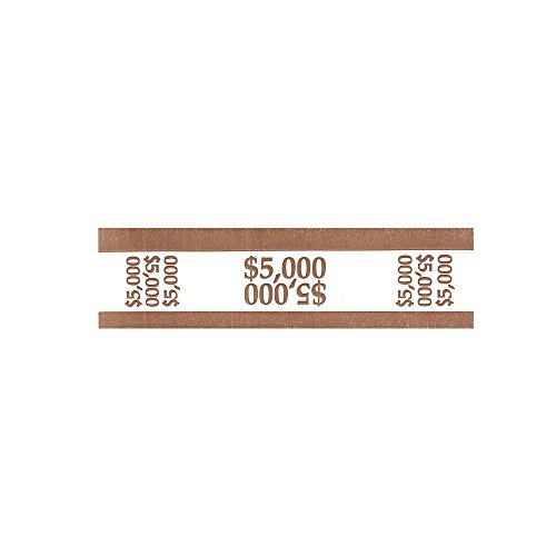 MMF Industries 216070I09 - Self-Adhesive Currency Straps, Brown, $5,000 in $50 Bills, 1000 Bands/Box-MMF216070I09 - Self Adhesive Currency Bands