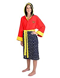DC Comics Wonder Woman Stars Hooded Cosplay Fleece Robe (One Size)