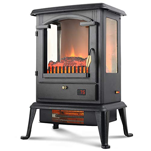 LIFE SMART Quartz Infrared Electric Fireplace Stove Heater with Remote Control - Electric Space Heater with Adjustable Thermostat for Office and Home 1500W (Clearance Fireplaces Electric)