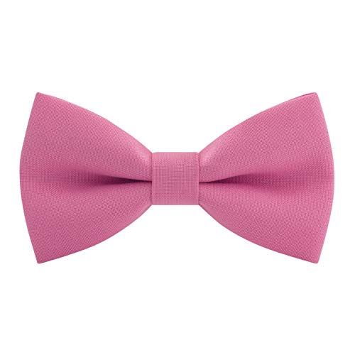 Classic Pre-Tied Bow Tie Formal Solid Tuxedo, by Bow Tie House (Small, Taffy Pink)