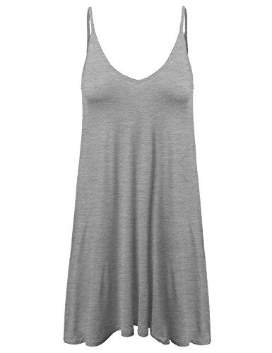 Trapèze Mini Robe Gris Bruyère Awdsd0476 Détendue Forme Stretch Doux Des Femmes Awesome21 Sans Manches