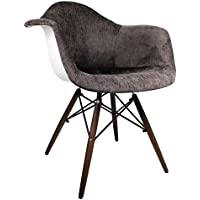 Ariel Mid-Century Eames Style Accent Arm Chair with Dark Walnut Wood Eiffel Legs, Cocoa Brown Velvet Fabric