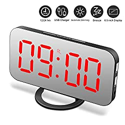 Alarm Clock, Digital Clock with Large 6.5 LED Dimmer Display, Alarm Clocks for bedrooms, Dual USB Charger Ports, Snooze, Mirror Surface
