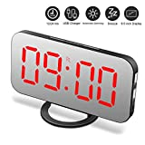 Alarm Clock, Digital Clock with Large 6.5'' LED Dimmer Display, Alarm Clocks for bedrooms, Dual USB Charger Ports, Snooze, Mirror Surface