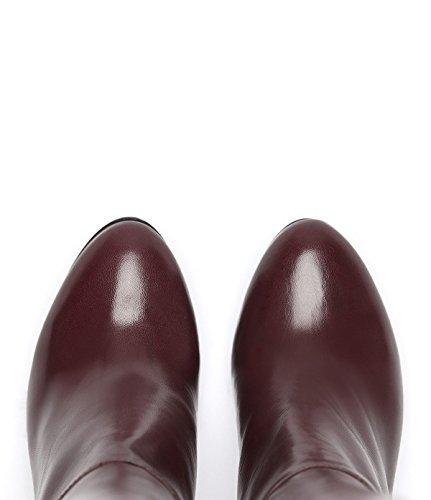 PoiLei Ina - chaussure femme / classiques bottes en cuir à talon haut epais - avec bout ronde / elegantes et sophistiquées