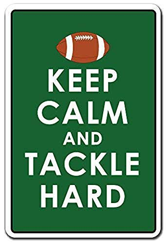 WallDector Keep Calm Tackle Hard Sports Team Game Football Warning Iron Poster Painting Tin Sign Vintage Wall Decor for Cafe Bar Pub Home Beer Decoration Crafts