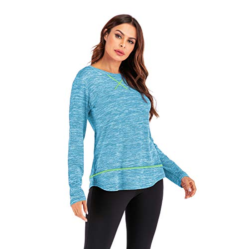 Long Sleeve Yoga Tops Running Shirts for Women Loose Fit Activewear Workout T-Shirts Yoga Long Sleeve Tops