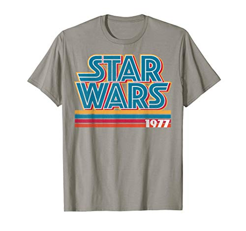 - Star Wars Super Retro Striped Logo 1977 Graphic T-Shirt C1