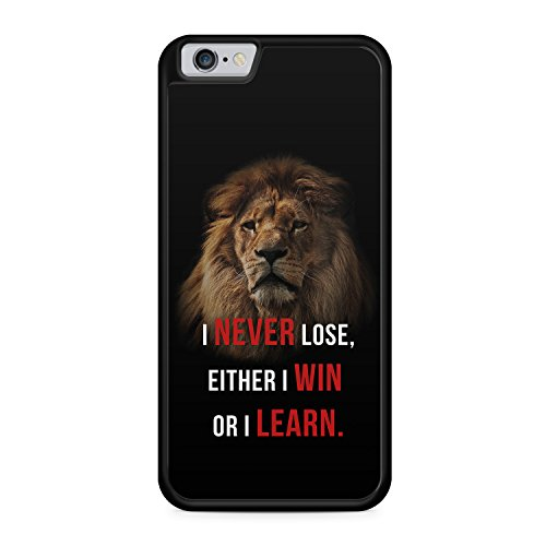 I Never Lose, Either I Win Or I Learn. Löwe Apple iPhone 6 / 6S SILIKON BK Hülle Cover Case Schale Spruch Motivation Fitness Zitat Lion