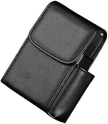 ESGT Estuche de Cigarrillos Estuche de Cuero para Hombre Bolso Funda con Tapa Retro con cinturón portátil,Black2: Amazon.es: Hogar