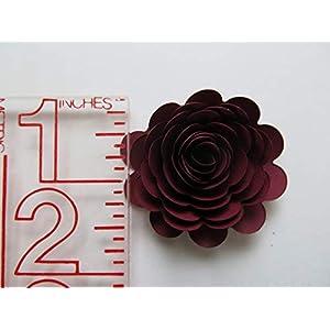 24 Dark Red Carnations, 1.5 Inch Scalloped Burgundy Rose Paper Flowers, Garnet Flowers 4