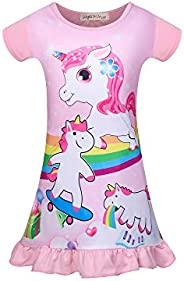 DSL Unicorn Nightgown Girls Princess Nightdress Pajamas Sleepwear for Kids 3-8Y