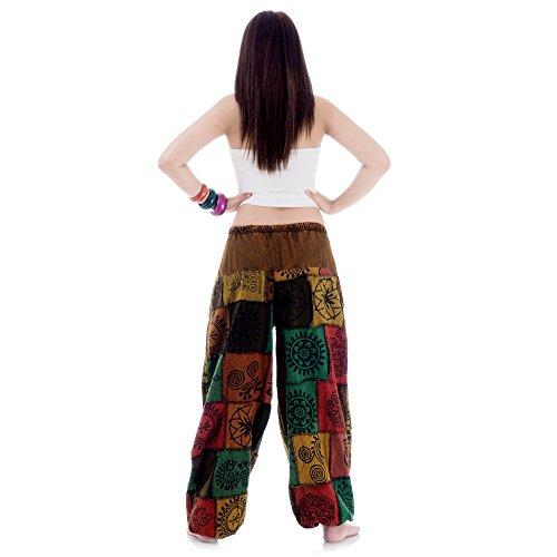 Patchwork Hippie Hose Haremshose Aladinhose Pumphose für Damen & Herren 36 38 40 42 Braun