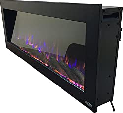 Touchstone 80017 - Indoor/Outdoor Sideline Electric Fireplace - GFI Plug for Outdoor Use - 50 Inch Wide - in Wall Recessed or Wall Mount - Realistic 3 Color Flame - No Heat - (Black) - Log & Crystal by Touchstone Home Products, Inc.