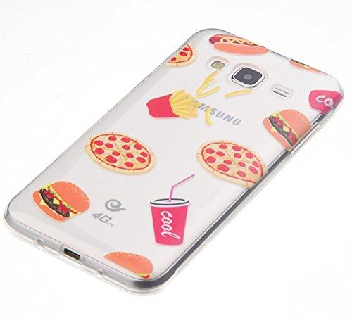 Funda para Samsung Galaxy J3/J3(2016), Ukayfe Suave Carcasa Caso Parachoques Diseño pintado Patrón para Samsung Galaxy J3/J3(2016),Funda Case Lujo Premium Bling Caja PC Dura Ultra Fina Cubierta Matt G Patatas fritas pizza