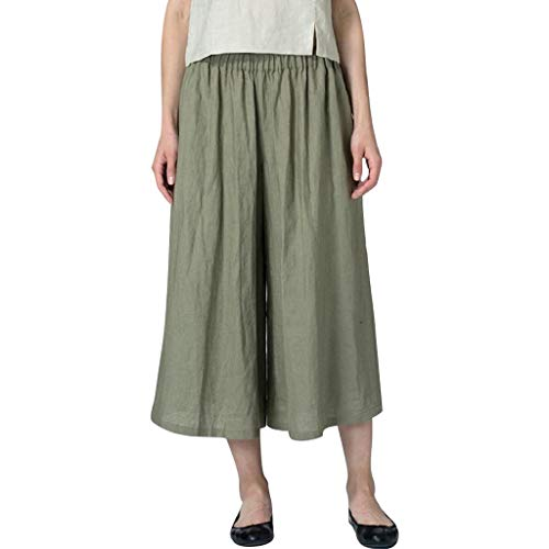 (JustWin Super Casual Pants Womens Cotton Linen Blend Pocket Plus Size Wide Leg Casual Pants Green)