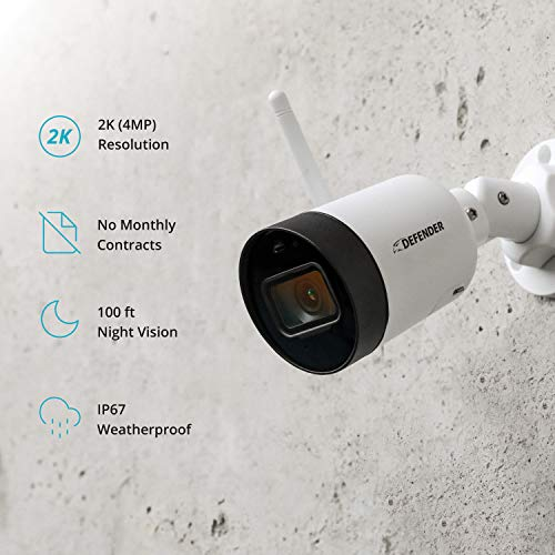 Defender Guard HD Wi-Fi Security Camera - Indoor and Outdoor Wireless IP WiFi Camera 2k (4MP) Resolution with Audio Recording - No Monthly Fees, SD Card Recording - (1 Camera)
