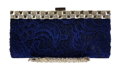 Diamante Bag Girly Dark Bag Clutch Clutch Shoulder New Blue Womens Evening Fashion Satin Handbags Lace Wedding 0dqx68