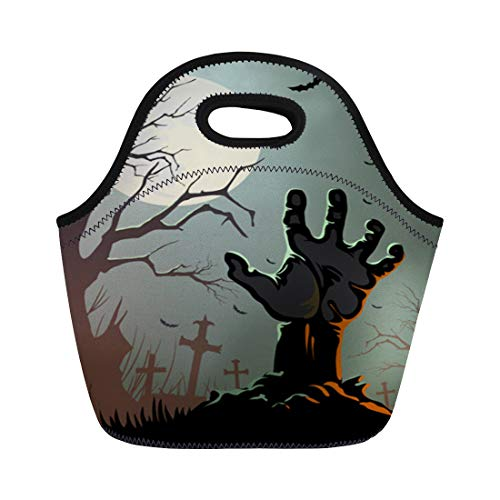 Semtomn Lunch Bags Horror Black Zombie Halloween Hand Graveyard Tree Scary Grave Neoprene Lunch Bag Lunchbox Tote Bag Portable Picnic Bag Cooler Bag]()