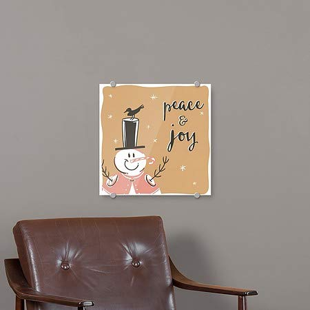 Holiday Decor CGSignLab Peace and Joy Snowman Square Premium Brushed Aluminum Sign 16x16 5-Pack