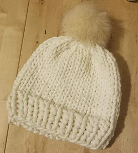 db32c8ed57c Amazon.com  White Chunky Wool Beanie Hat with Faux Fur Pom Pom Handmade   Handmade