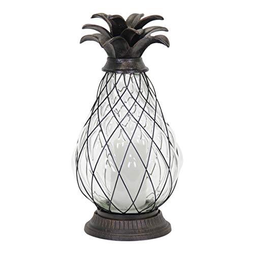 (Exhart Pineapple Cast Iron Lantern Solar 12 LED Firefly Lantern - Outdoor Pineapple Décor Tabletop Glass Lantern in Metal Cage - Pineapple Solar Lantern, LED Metal Lantern - Clear Glass 6