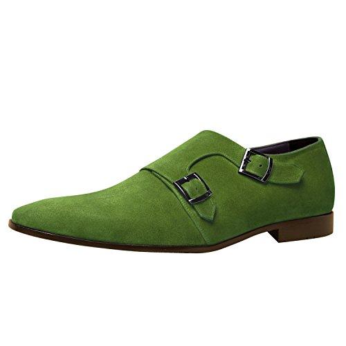Zapatos Hechos A Mano De Los Hombres De Itailor: Zapatos Verdes De La Correa Del Monje De Cuero De Gamuza Ante Verdes