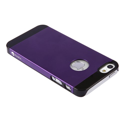 Amplim Alloy for Apple iPhone SE / 5 / 5S: Premium Purple Anodized Aluminum + High Quality PC Hard Case (AT&T, Verizon, Sprint, T-Mobile) Retail Packaging