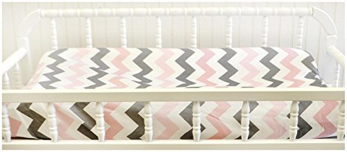 My Baby Sam Chevron Baby Changing Pad Cover, Pink/Gray by My Baby Sam