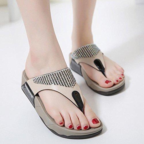 Chanclas QinMM de Flops Playa y de Casual Flip para Negro Mujer Sandalias Zapatos Verano Baño Bohemio x051q4tqw