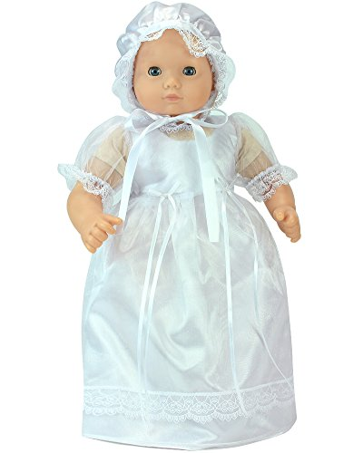 Sophia's 15 Inch Baby Doll Dress, Perfect for Christening, Baptism, Communion Set, Fits 15 Inch American Girl Bitty Baby Dolls Detailed and Beautiful Baby Doll White Celebration Dress and - Bonnet Doll