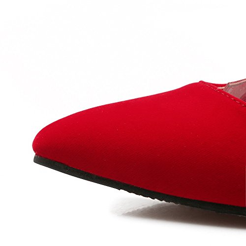 Dépolissement Boucle Chaussures Rouge Haut Agoolar Pointu À Talon Femme Légeres Couleur Unie wqq0Pzx