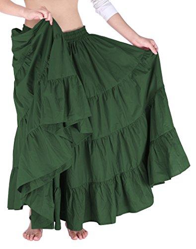 Women's Ruffle Bohemian Cotton Long Maxi Skirt Dress