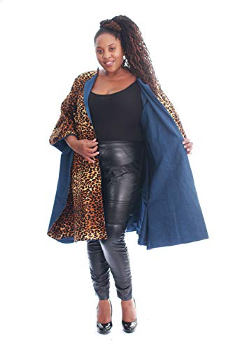FN Women's Authentic African Print Poncho with Heavy Denim Lining Winter Coat Poncho Long Cardigan Sweater Coat (Print-1, One ()