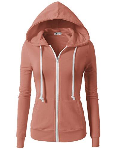 (H2H Womens Active Regular Fit Zip Up Long Sleeve Hoodie Jacket MAUVEPINK S (CWOHOL020))