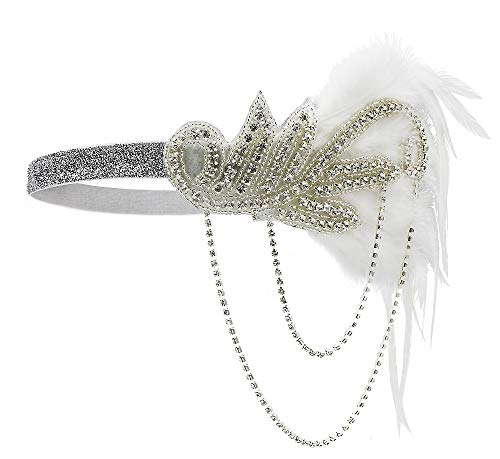 1920s Gatsby Flapper Feather Headband 20s accessories Crystal Beaded Wedding -