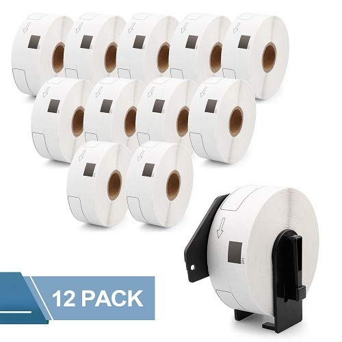 Fimax Compatible Brother DK-1201 1.1 in x 3.5 in (29 mm x 90.3 mm) Die-Cut Standard Address White Paper Labels, 400 Labels Per Roll (12 Rolls Plus 1 Reusable DK-1201 Frame)
