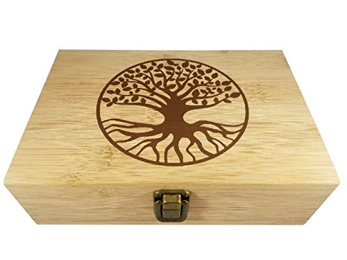 Bamboo Wood Hinged Cigar Storage Stash Box -8.5 x 6 x 2.5 Inches (Tree of Life)