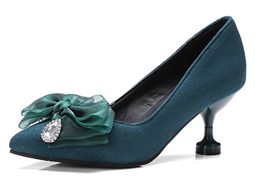 Aisun Womens Elegant Party Pointy Toe Dress Slip On Kitten Heels Pumps Shoes With Bows Green s4DV6