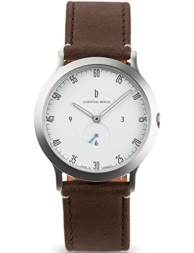 Lilienthal Berlin Watch - Made in Germany - Designed in Berlin. Model L1 with Stainless Steel Case (Size: 37.5 mm, Case: silver / Dial: white / Strap: brown) by Lilienthal Berlin