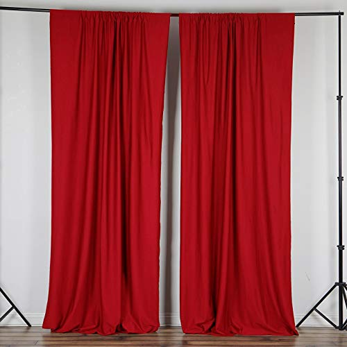 Efavormart 10FT Red Polyester Curtain Backdrop Drape Panel- Premium Collection for Window Wall Event Photoshoot - Drape Collection